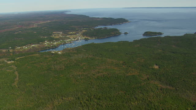 WS AERIAL View of Cutler harbour / Maine, United States