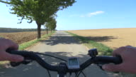 MS POV View of cyclist cycling on country lane / Merzig, Saarland, Germany