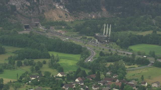 WS AERIAL View of D196 and Tunnel with trees / Rhone Alpes, France
