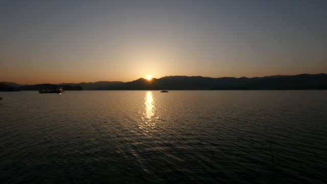 View of Daecheongho Lake at sunset