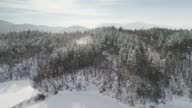View of Daegwallyeong pass covered in snow (a mountain pass in the Taebaek Mountains of eastern South Korea)