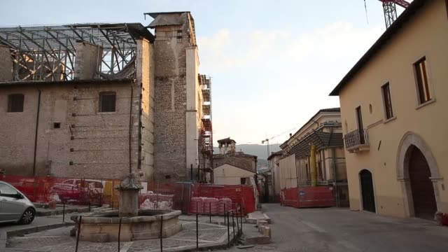 A view of damaged building in L'Aquila on March 21 2017 The Eighth anniversary of the L'Aquila earthquake will be marked on 06 April 2017...