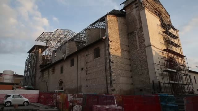 A view of damaged Church of Santa Maria Paganica in historic center of L'Aquila on March 21 2017 The Eighth anniversary of the L'Aquila earthquake...