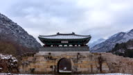 View of Deokjusanseong Fortress(Chungcheongbuk-do Monument 35) in winter