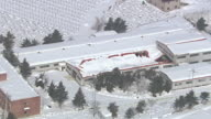 WS AERIAL ZI TS View of Destoryed roof of building / Gangneung, Gangwon do, South Korea