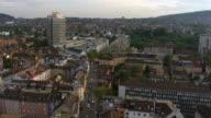 WS AERIAL View of district five / Zurich city, Zurich, Switzerland