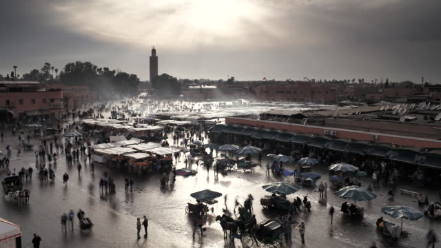 WS T/L View of  Djemaa el-Fna Square at rain / Marrakech, Morocco