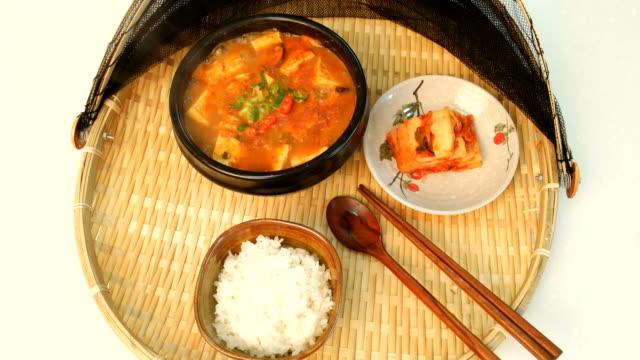 View of Doenjang Soup (Korean Traditional bean paste stew)