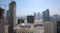 WS T/L PAN View of Doha City seen from rooftop / Doha City,