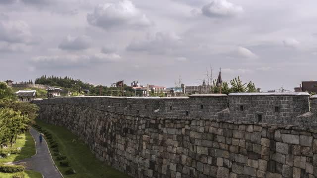 WS T/L View of Dongbukporu turret in Suwon Hwaseong Castle (Unesco World Heritage)  / Suwon, Gyeonggi do, South Korea