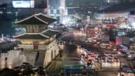 View of Dongdaemun Gate (Also refered as Heunginjimun Gate) at Dongdaemun Fashion Town