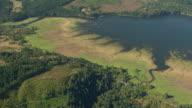 WS AERIAL View of Dorena Lake with algae / Oregon, United States