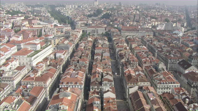 WS POV View of downtown at Rossio and Baixa-Chiado / Lisbon, Portugal