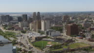 WS AERIAL View of downtown buildings / Newark, New Jersey, United States