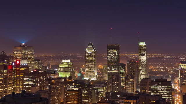 WS T/L View of Downtown Montreal at Night / Montreal, Quebec, Canada