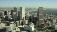 WS AERIAL View of downtown skyscrapers / Denver, Colorado, United States