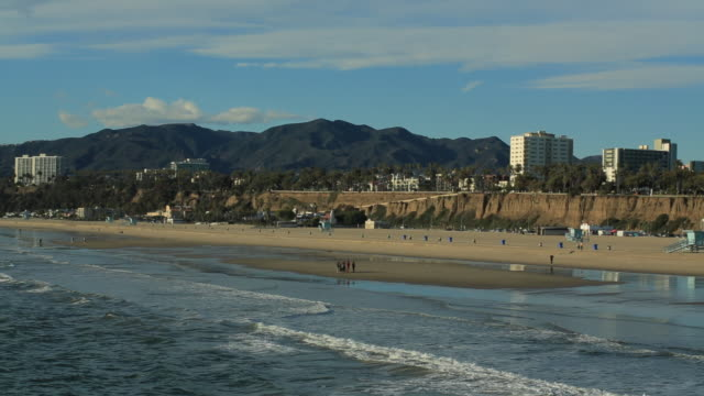 WS PAN View of downtown with beach / Santa Monica, California, United States