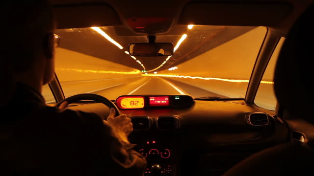 MS POV T/L View of Driving car at night / Gran Canaria Canary Islands, Spain