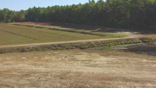 WS AERIAL POV View of dry cranberry field / Carver, Plymouth County, Massachusetts, United States