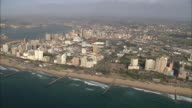 WS PAN AERIAL View of Durban city centre and beachfront / Durban, Kwazulu-Natal, South Africa