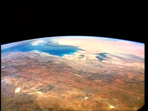 View of Earth from space, over Middle East, smoke from Kuwait oil well fires, STS-40