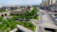 AERIAL View of East Gate of city wall and modern transportation/ Xi'an, Shaanxi, China