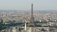 WS AERIAL View of Eiffel Tower in city / Paris, France