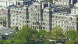 Executive Office View ws aerial pov view of eisenhower executive office building with