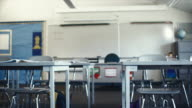 MS PAN View of empty classroom / Edmonds, Washington, USA