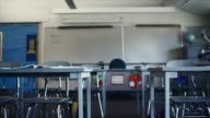 MS PAN View of empty classroom with science project / Edmonds, Washington, USA