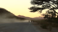 WS View of end of day, Himba family is walking back home from town and car is passing moving dust at same time / Opuwo, Kunene, Namibia