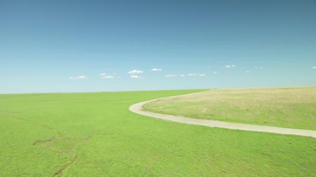 WS AERIAL View of Endless prairie at Tallgrass Prairie Preserve / Oklahoma, United States
