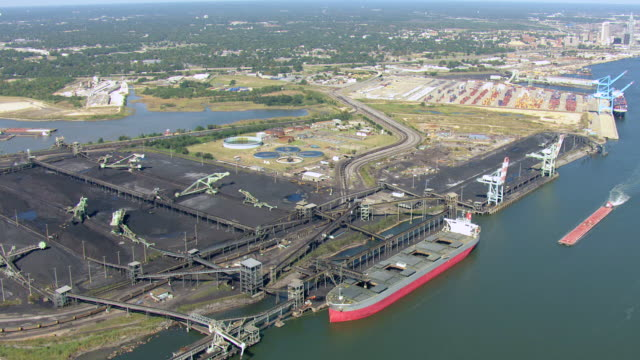 WS AERIAL View of entire McDuffie Coal Terminal at Port of Mobile / Alabama, United States