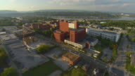 WS AERIAL View of Erlanger Hospital with Tennessee River / Chattanooga, Tennessee, United States