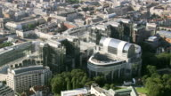 MS AERIAL ZI View of European Parliament in city / Brussels, Belgium