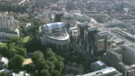 MS AERIAL ZI ZO TS View of European Parliament in city / Brussels, Belgium
