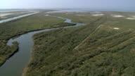WS AERIAL View of Evros River Delta in thraki region / Evros River, Thraki, Greece