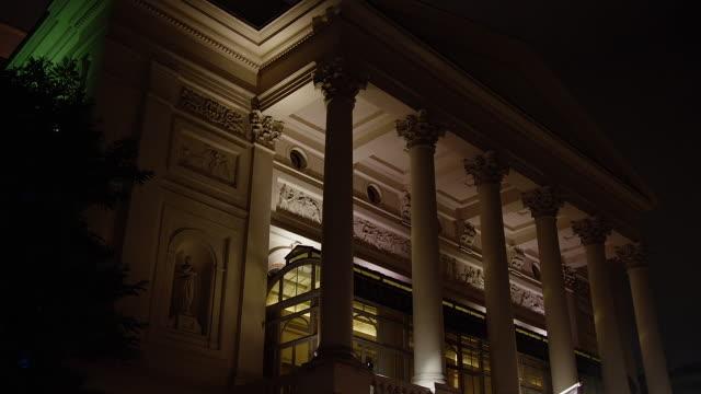 MS View of exterior Royal Opera House at night / London, United Kingdom