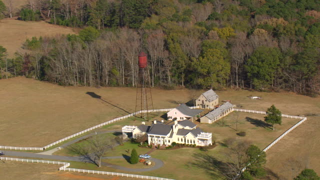 MS AERIAL View of farm house / North Carolina, United States