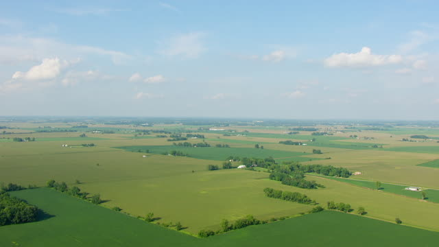 WS AERIAL POV View of farmland / Morgan County, Indiana, United States