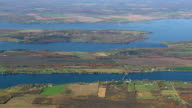 WS AERIAL PAN ZI View of farmland on island in Lake Champlain / Vermont, United States