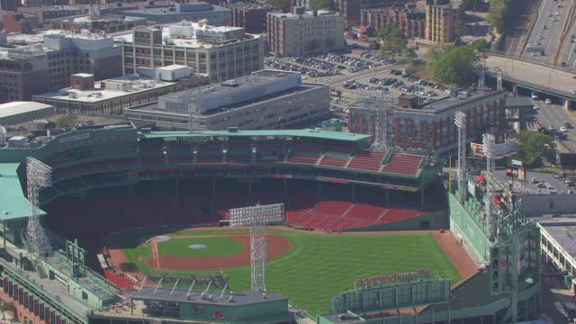 MS AERIAL POV View of Fenway park stadium and sign / Boston, Massachusetts, United States