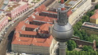 WS AERIAL ZI ZO DS View of Fernsehturm Alexanderplatz and city of berlin with river  / Germany