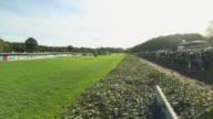 WS PAN View of Finish of a horse race / Krefeld, North Rhine Westphalia, Germany