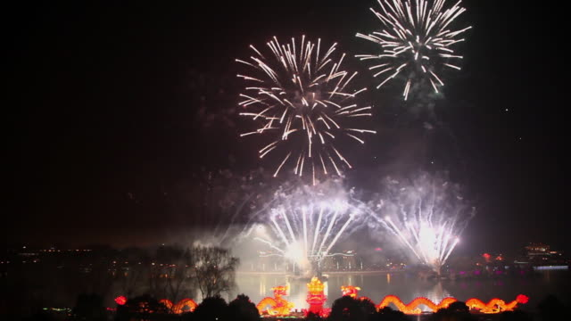 WS View of Fireworks and dragon Lantern for celebrating Chinese Spring Festival / Xian, China