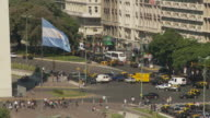 View of flag flapping in Buenos Aires, Argentina