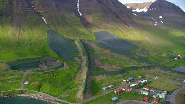 WS AREAIL View of Flateyri town demolished by avalanche / Iceland