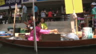 MS PAN View of floating market of Damnoen Saduak, market sellers with fruit and vegetable on boats / Bangkok, Thailand