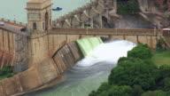MS AERIAL View of flood gates of Hartebeespoort dam / Johannesburg, Gauteng, South Africa