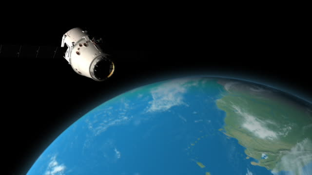 WS TS View of Fly past of Space Dragon spacecraft on route to resupply Space Station